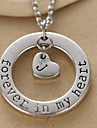 мода круг и алфавит кулон сердце серебряный сплав ожерелье (1 шт)
