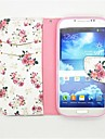 Peony Pattern PU Leather Full Body Case with Card Slot and Stand for Samsung S4 I9500