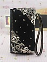 Rhinestone Flower Design PU Leahter Purse Protective Case with Stand for Sansung S3/S4/S5 And Note2/Note3/Note 4
