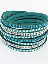 Femme Bracelets Rigides Bracelets Bracelets en cuir Bracelets de tennis Basique Amitié Européen Mode Long Cuir Strass AlliageForme de