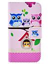 милые семьи сова сидит на дереве Pattern Кожа PU Полный чехол тело для iPhone 4 / 4s