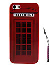 vermelho padrão de casa telefone caso difícil&caneta de toque para iPhone 5 / 5s