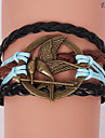 Eruner®Leather Bracelets Multilayer Alloy Mockingjay Charms Handmade Bracelet
