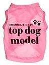 Cães / Gatos Camiseta Rosa Primavera/Outono Carta e Número
