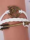 Eruner®Leather Bracelets Multilayer Alloy Mockingjay and Arrow Charms Handmade Brac