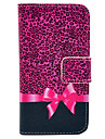Rose Leopard Print And Butterfly Knot Pattern PU Leather Full Body Case for iPhone 4/4S