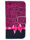 subiu estampa de leopardo e padrão de borboleta nó de couro pu caso de corpo inteiro para iPhone 4 / 4S
