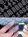 1x 108 PCS  3D Silver Flower  Nail Art Stickers