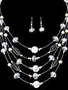 дикие богемной моды изысканный кристалл наборы многослойных ожерелье серьги