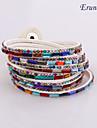 여러 가지 빛깔의 라인 스톤 가죽 팔찌 braceletseruner®multilayer 가죽 매력 (흰색)