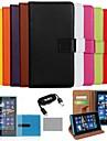 couleur solide étui en cuir véritable de luxe de coco avec le film, câble et stylet pour Nokia Lumia 920 (couleurs assorties)