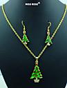 Мисс rose®new Рождеством! красный& зеленый зеленый эмаль новогодняя елка ожерелье& серьги комплект ювелирных изделий
