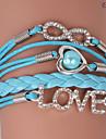 pulseiras eruner®leather zircão amor liga multicamada e encantos infinitos handmade