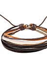 enveloppe en cuir bracelet de couches multiples d'hommes avec une corde multicolore (1 pièce)