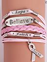 Eruner®Leather Bracelet Multilayer Alloy Believe and Hope Handmade Bracelet