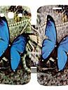 Blue Butterfly Pattern Zircon Inlaid Flip Folio Case for Samsung Galaxy S3 I9300