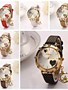 Women's Peach Hearts Dial Diamante  Moon Hanging Drop Dial Gridding Leather Quartz Wristwatches  (Assorted Color)C&d182 Cool Watches Unique Watches