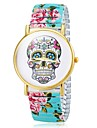 Women's Bracelet Watch Quartz Analog Skull Dial Flower Band Cool Watches Unique Watches Strap Watch