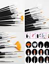 15PCS Black  Nail Art Design Painting Drawing Pen Brush Set Wood Handle Acrylic Brush