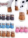 Собаки Ботинки и сапоги Сохраняет тепло Зима Однотонный Синий / Коричневый / Розовый / серый Плюшевая ткань