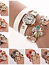 Women's White Dial Flower Crytal Three-Layer Leather Band Random Pendant Quartz Fashion Bracelet Watch  (Assorted Color) Cool Watches Unique Watches