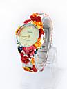 Женские Повседневные часы Кварцевый Plastic Группа Цветы Разноцветный марка