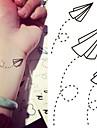 타투 스티커 - Non Toxic/허리 아래/Waterproof - 기타 - 아동/여성/남성/어른/Teen - 블랙/블루 - 종이 - 1 - 6*10.5cm (2.36*4.13in) - Paper Airplanes Paper Plane