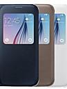 용 삼성 갤럭시 케이스 윈도우 케이스 풀 바디 케이스 단색 인조 가죽 Samsung S6 edge plus