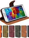 Genuine Matte Cowhide PU Leather Flip Cover Wallet Card Slot Case with Stand for Samsung S5 I9600