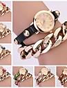 Mulheres Vintage Couro Metal Strap Pulseira Cadeia Watch (cores sortidas)