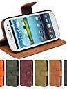 véritable cuir mat pu cas de fente couvercle rabattable de carte de portefeuille avec support pour le i9300 de Samsung Galaxy (couleurs