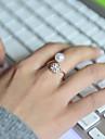 Классические кольца Жемчуг Стразы Имитация Алмазный Сплав Регулируется Серебряный Бижутерия Свадьба Для вечеринок Повседневные Спорт 1шт