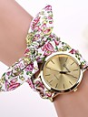 Mulheres Relógio de Moda Relógio de Pulso Bracele Relógio Quartzo Tecido Banda Flor Branco Vermelho
