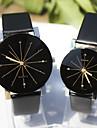 커플용 드레스 시계 손목 시계 모조 다이아몬드 석영 가죽 밴드 참 블랙