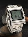 남성 손목 시계 LED 리모컨 달력 경보 스톱워치 디지털 스테인레스 스틸 밴드 실버