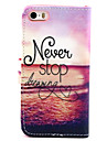 Never Stop Dreaming Pattern PU Leather Full Body Case with Stand for iPhone 5/5S