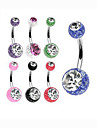 Fashion Stainless Steel Crystal Navel Belly Button Ring Dancing Body Jewelry Piercing(Random Color)