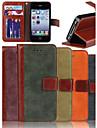 genuína fosco nobuk caso slot de couro pu carteira cartão de capa de couro da aleta com suporte para iPhone 4 / 4S