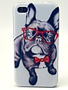 шаблон очки собака ТПУ мягкий чехол для iPhone 4 / 4s