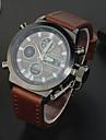 Masculino Relógio Esportivo LED / Calendário / Cronógrafo / Impermeável / Dois Fusos Horários / alarme Couro Banda Marrom marca-