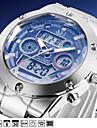 ASJ® Fashion Military Mens Sport Wrist Quartz Watches Dual Time Zone Date Day LCD Display Waterproof Alarm Chronograph Wrist Watch Cool Unique Watch