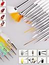 15pcs ongle art peinture de conception stylo dessin Brush Set avec 5pcs 2-way outil plume qui parsèment