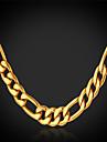 ожерелье заполнены Figaro цепь u7® мужская 18k коренастый золото для мужчин 4 мм, 28 дюймов (71см) ювелирные изделия