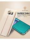 Для Кейс для  Samsung Galaxy со стендом / с окошком / Флип Кейс для Чехол Кейс для Один цвет Искусственная кожа Samsung S6