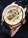 Homens Relógio de Pulso relógio mecânico Automático - da corda automáticamente Impermeável Gravação Oca Couro Banda Luxuoso Preta