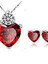 Lureme®  Korean Fashion Singleness Of Heart Garnet  Crystal  Zircon Pendant Alloy Necklace Earrings Suit