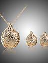 Набор украшений Ожерелье / серьги Кристалл Любовь Стразы Серебрянное покрытие Позолоченное розовым золотом Сплав В форме сердцаСеребряный