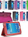 Для Кейс для  Samsung Galaxy со стендом / Флип Кейс для Чехол Кейс для Один цвет Искусственная кожа Samsung Tab 3 10.1 / Tab 3 7.0