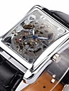WINNER® Men's Auto-Mechanical Square Skeleton Watch PU Leather Band Wrist Watch Cool Watch Unique Watch