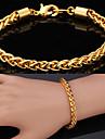 u7® высокое качество 18-каратного золота заполнено скручены Сингапур звено цепи браслет для мужчин и для женщин 7мм 21 см